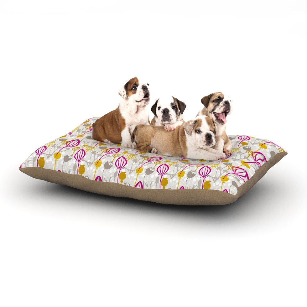 "Julie Hamilton ""Mulberry"" Pink Yellow Dog Bed - KESS InHouse  - 1"