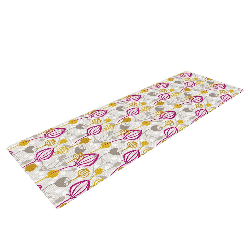 "Julie Hamilton ""Mulberry"" Pink Yellow Yoga Mat - KESS InHouse  - 1"