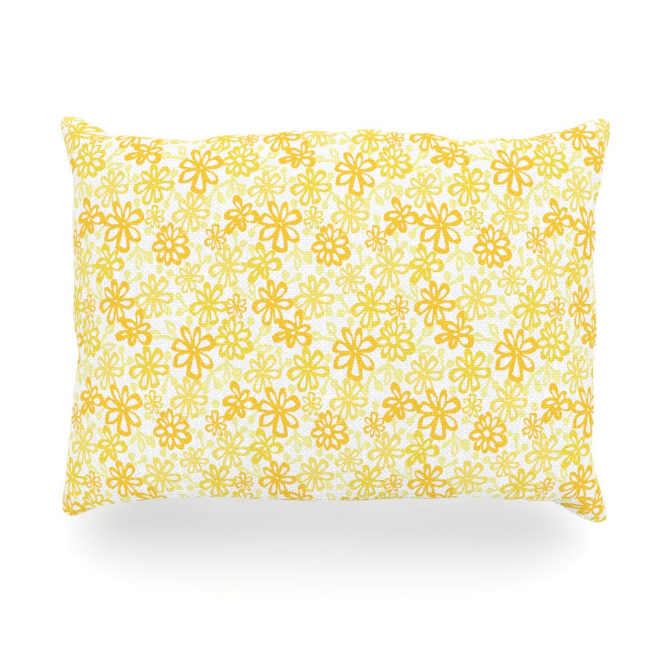 "Julie Hamilton ""Paper Daisy"" Yellow Oblong Pillow - KESS InHouse"