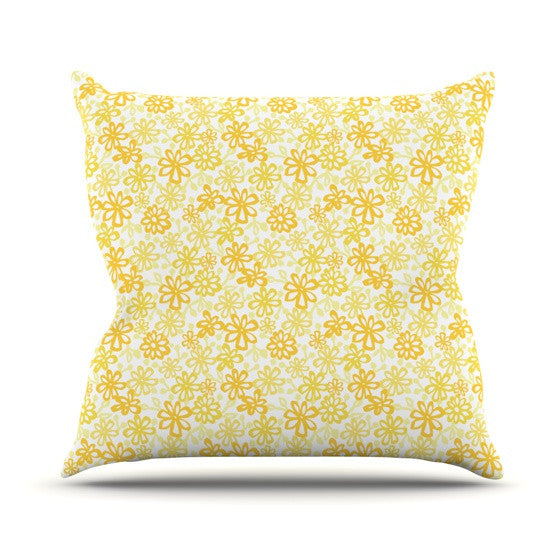 "Julie Hamilton ""Paper Daisy"" Yellow Throw Pillow - KESS InHouse  - 1"