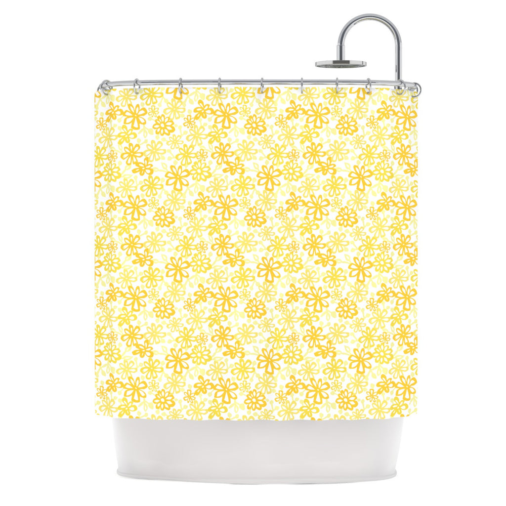 "Julie Hamilton ""Paper Daisy"" Yellow Shower Curtain - KESS InHouse"