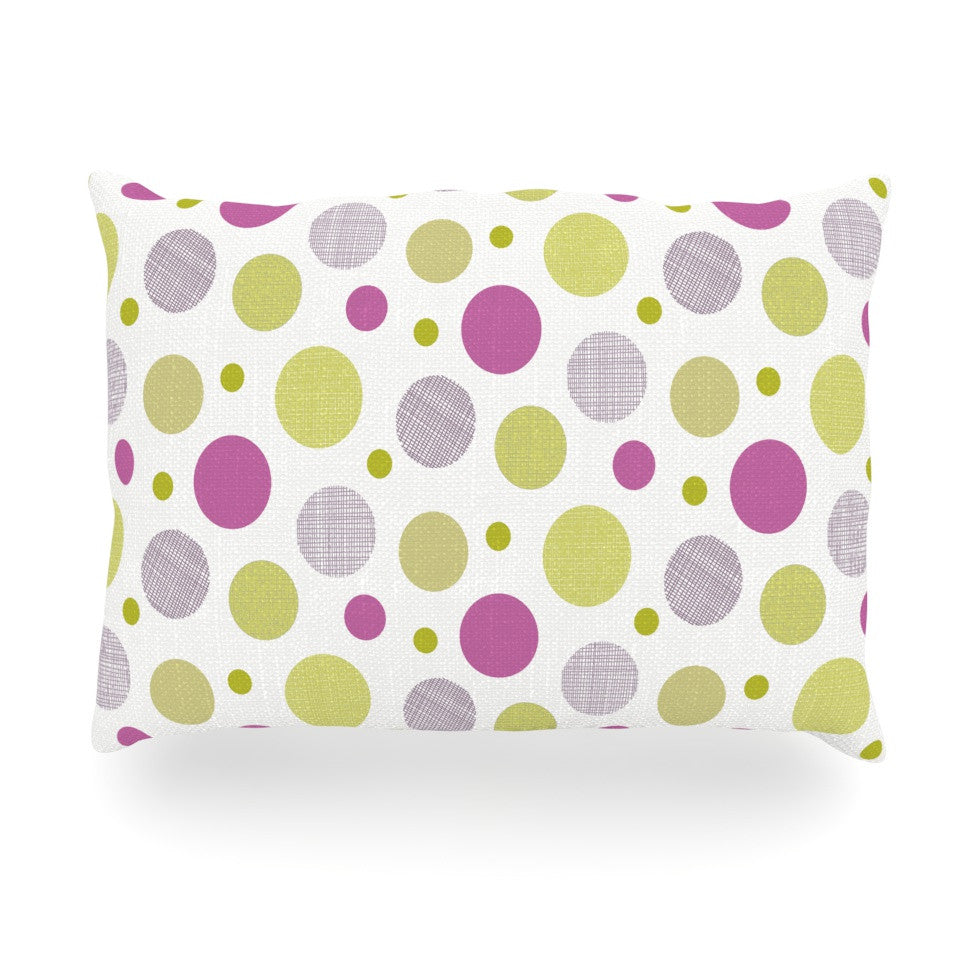 "Julie Hamilton ""Rhapsody Dot"" Pink Yellow Oblong Pillow - KESS InHouse"