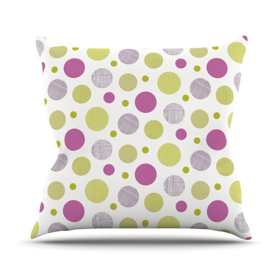 "Julie Hamilton ""Rhapsody Dot"" Pink Yellow Outdoor Throw Pillow - KESS InHouse  - 1"
