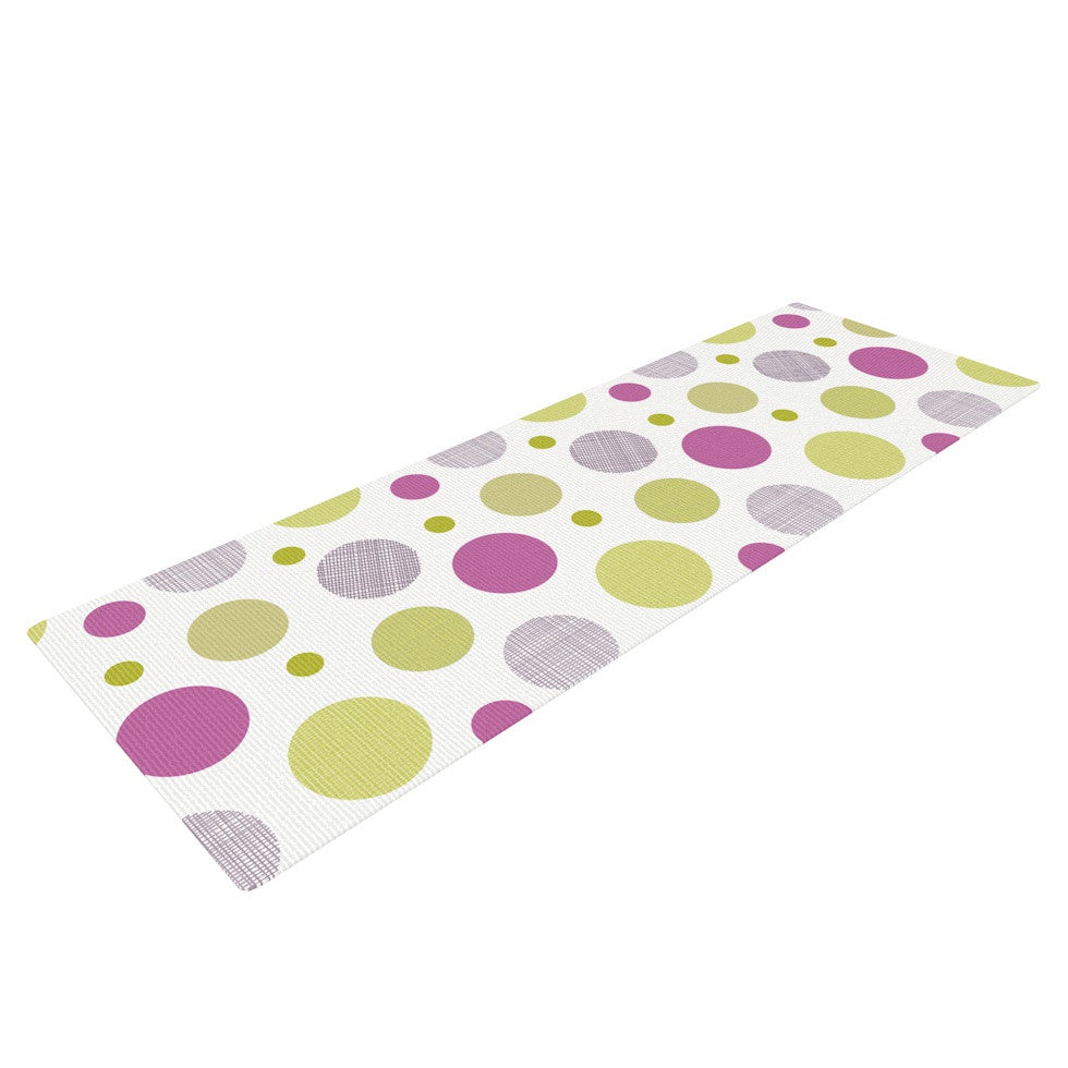 "Julie Hamilton ""Rhapsody Dot"" Pink Yellow Yoga Mat - KESS InHouse  - 1"