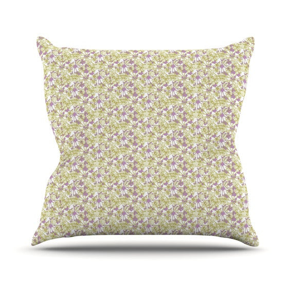 "Julie Hamilton ""Rhapsody Vine"" Yellow Purple Outdoor Throw Pillow - KESS InHouse  - 1"