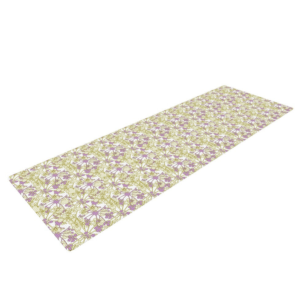 "Julie Hamilton ""Rhapsody Vine"" Yellow Purple Yoga Mat - KESS InHouse  - 1"