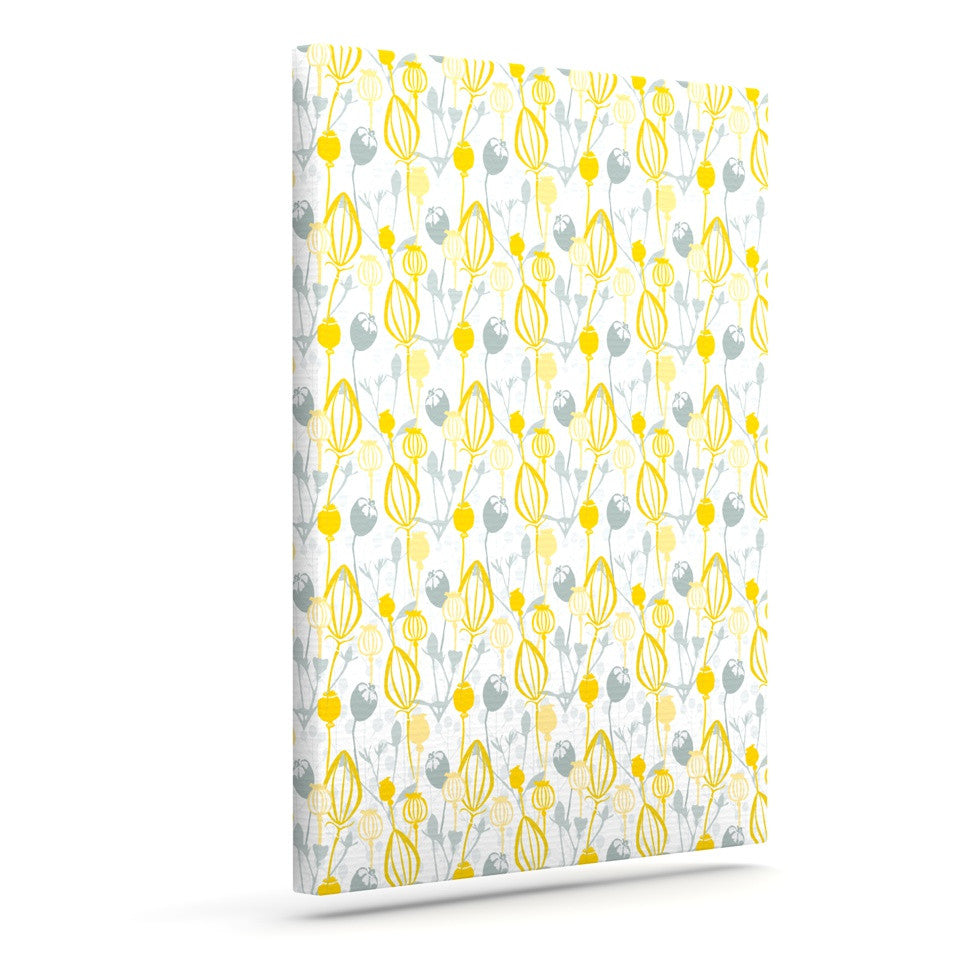 "Julie Hamilton ""Willow Wisp"" Yellow Gray Outdoor Canvas Wall Art - KESS InHouse  - 1"