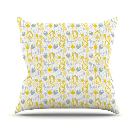 "Julie Hamilton ""Willow Wisp"" Yellow Gray Outdoor Throw Pillow - KESS InHouse  - 1"