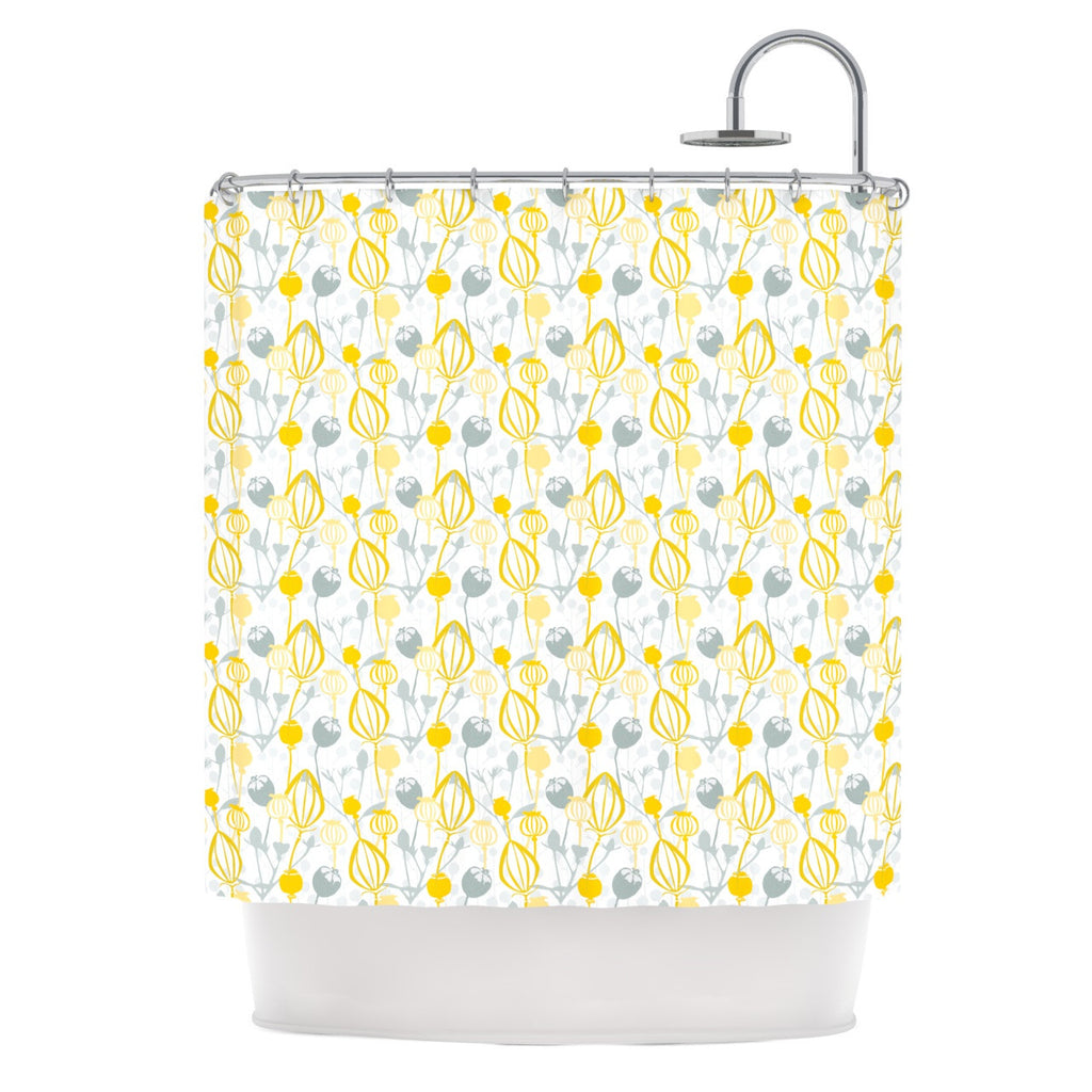 "Julie Hamilton ""Willow Wisp"" Yellow Gray Shower Curtain - KESS InHouse"