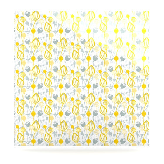 "Julie Hamilton ""Willow Wisp"" Yellow Gray Luxe Square Panel - KESS InHouse  - 1"