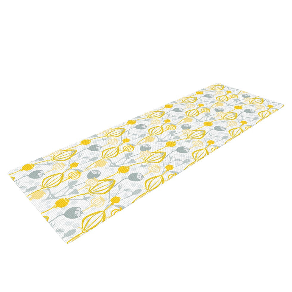 "Julie Hamilton ""Willow Wisp"" Yellow Gray Yoga Mat - KESS InHouse  - 1"