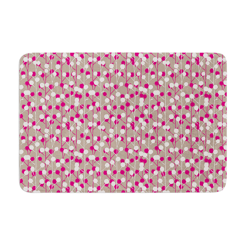 "Julie Hamilton ""Wineberry"" White Pink Memory Foam Bath Mat - KESS InHouse"