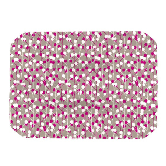 "Julie Hamilton ""Wineberry"" White Pink Place Mat - KESS InHouse"