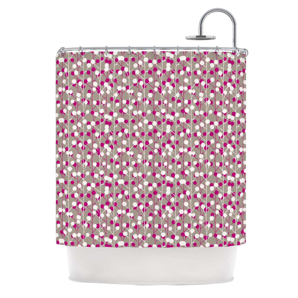 "Julie Hamilton ""Wineberry"" White Pink Shower Curtain - KESS InHouse"