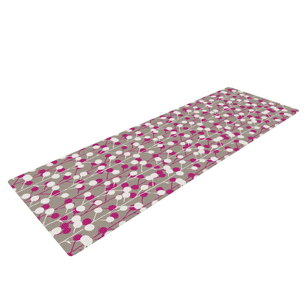 "Julie Hamilton ""Wineberry"" White Pink Yoga Mat - KESS InHouse  - 1"