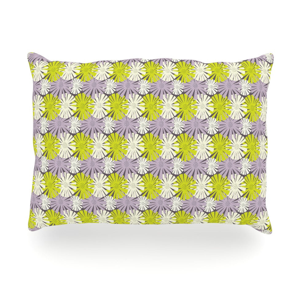 "Julie Hamilton ""Zinnia"" Yellow Purple Oblong Pillow - KESS InHouse"