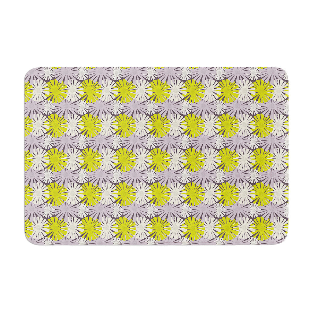 "Julie Hamilton ""Zinnia"" Yellow Purple Memory Foam Bath Mat - KESS InHouse"