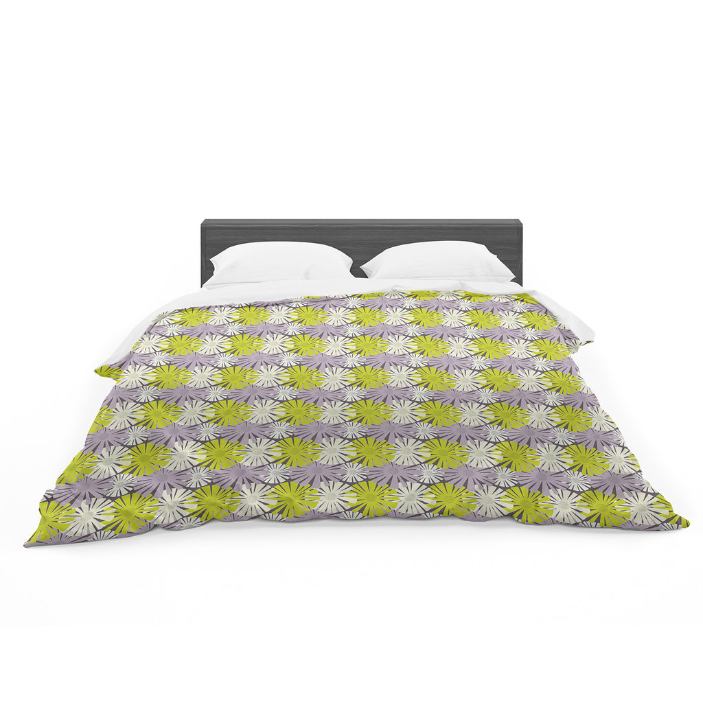 "Julie Hamilton ""Zinnia"" Yellow Purple Cotton Duvet"