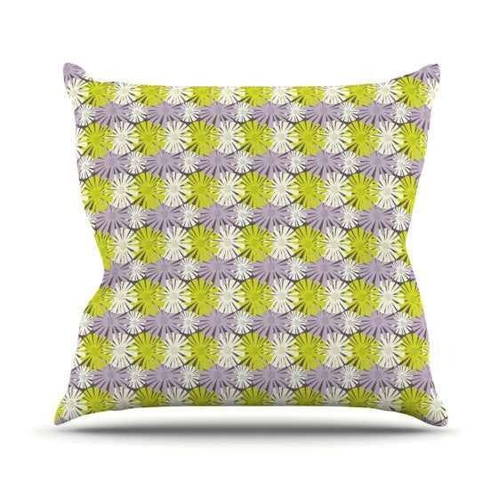 "Julie Hamilton ""Zinnia"" Yellow Purple Outdoor Throw Pillow - KESS InHouse  - 1"