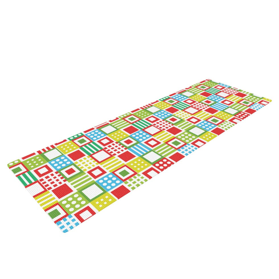"Julie Hamilton ""Colorful Check"" Checkered Yoga Mat - KESS InHouse  - 1"