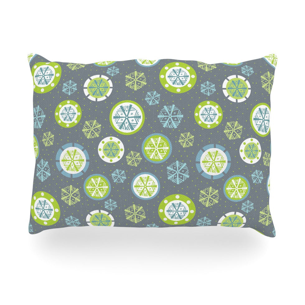 "Julie Hamilton ""Snowflake Slate"" Winter Oblong Pillow - KESS InHouse"
