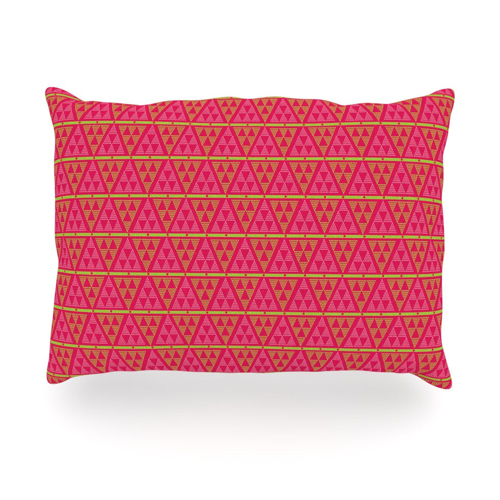 "Julie Hamilton ""Woven Red"" Pink Oblong Pillow - KESS InHouse"