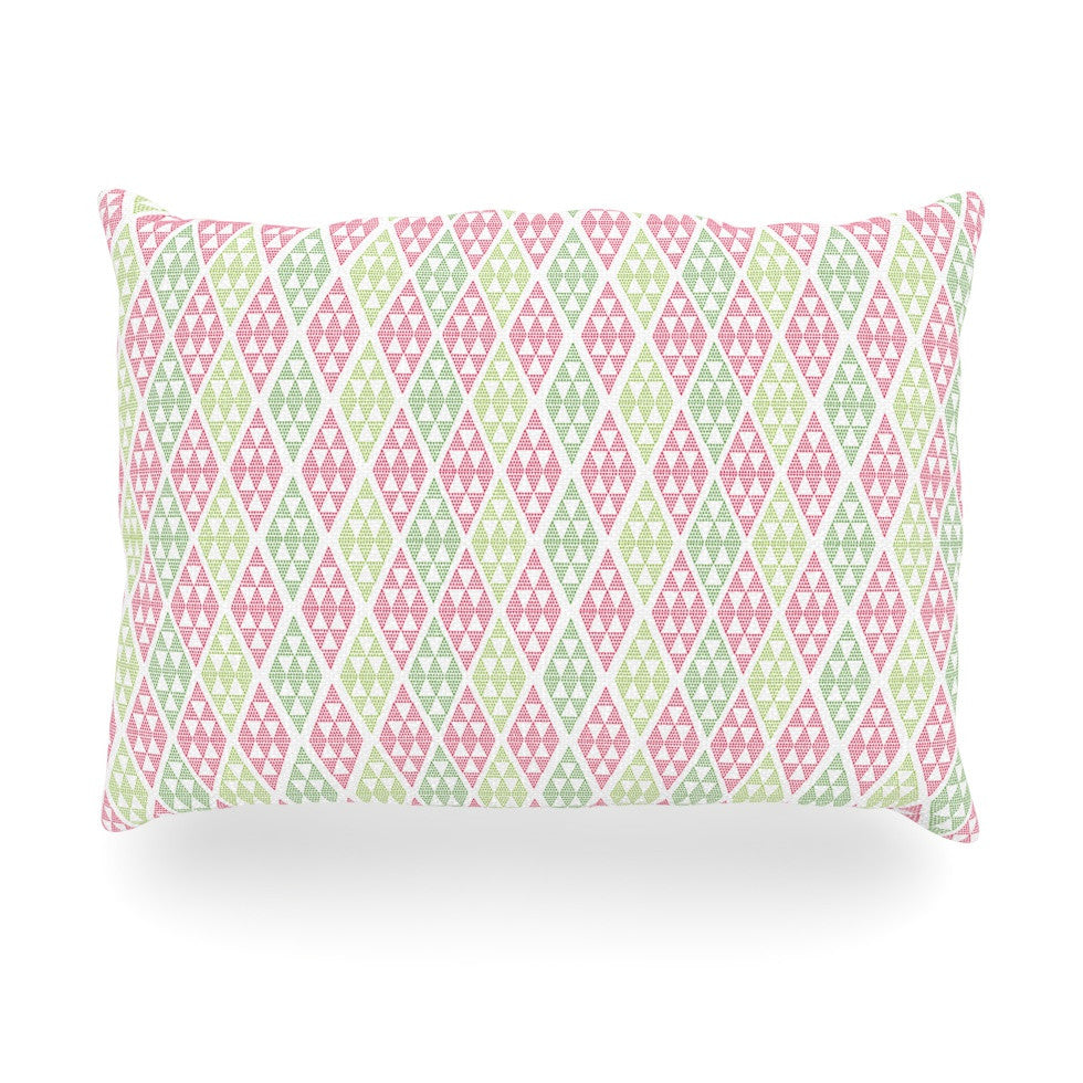 "Julie Hamilton ""Woven Wrap"" Pink Green Oblong Pillow - KESS InHouse"