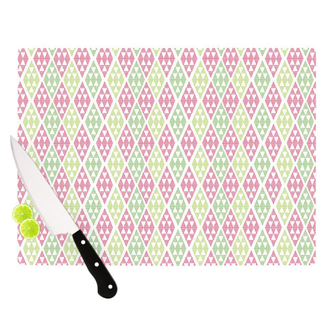 "Julie Hamilton ""Woven Wrap"" Pink Green Cutting Board - Outlet Item"