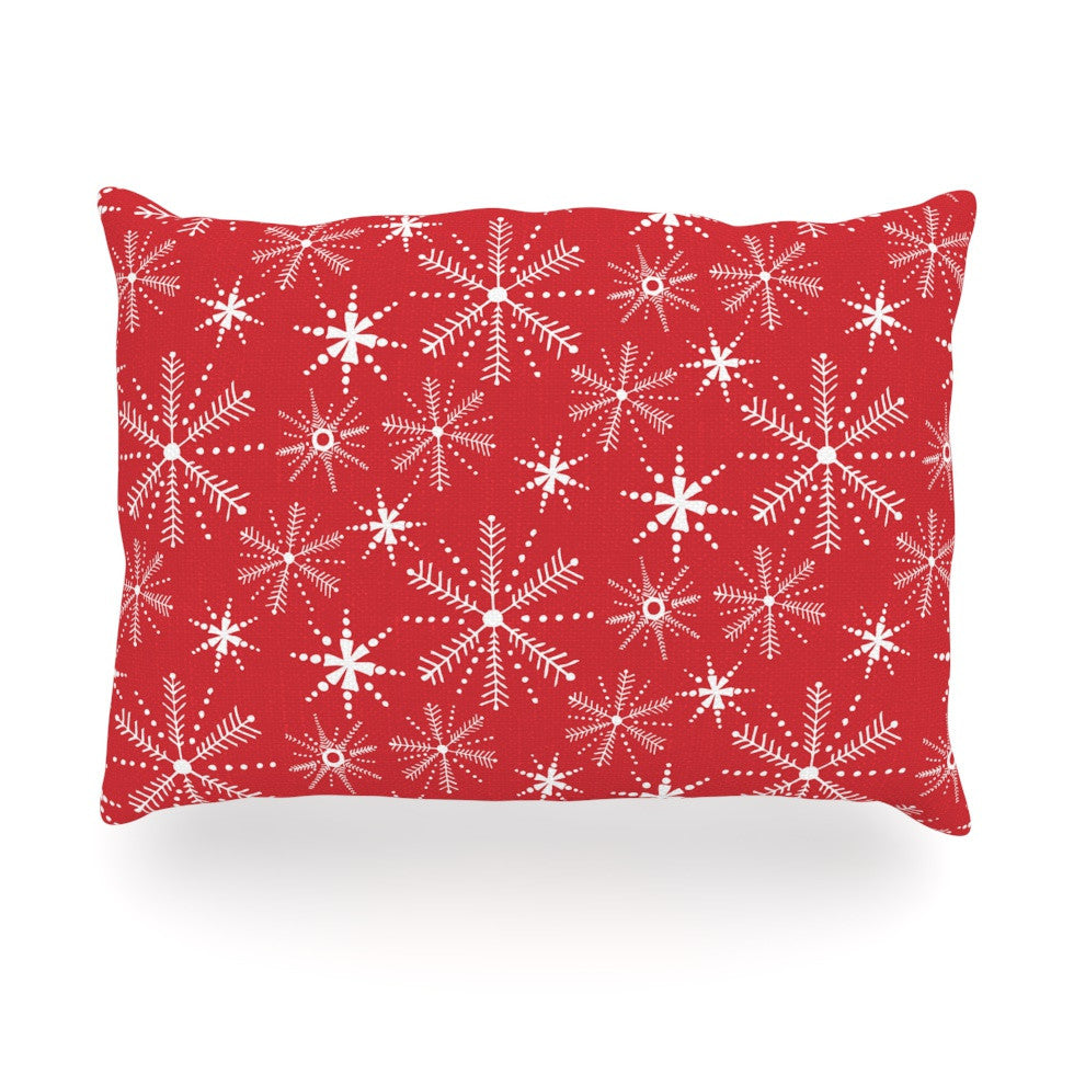 "Julie Hamilton ""Snowflake Berry"" Holiday Oblong Pillow - KESS InHouse"