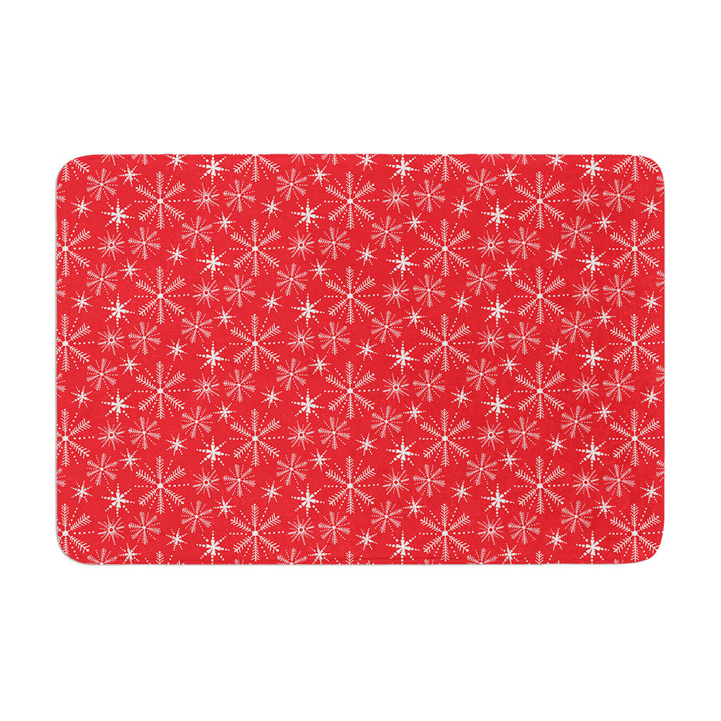 "Julie Hamilton ""Snowflake Berry"" Holiday Memory Foam Bath Mat - KESS InHouse"