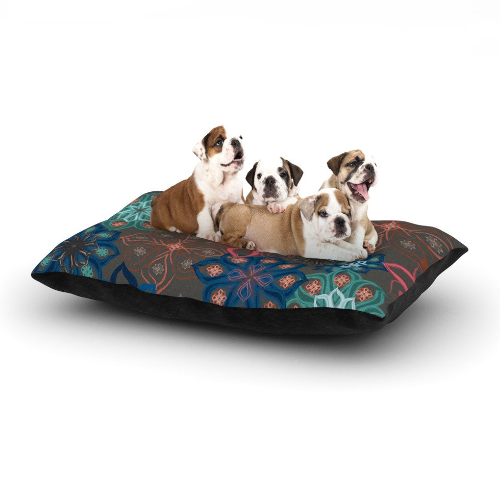 "Jolene Heckman ""Floral Arrangements"" Brown Flowers Dog Bed - KESS InHouse  - 1"