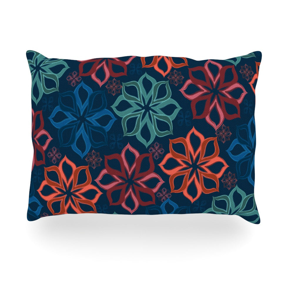 "Jolene Heckman ""Floral Charm"" Blue Flowers Oblong Pillow - KESS InHouse"