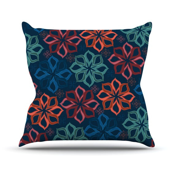 "Jolene Heckman ""Floral Charm"" Blue Flowers Throw Pillow - KESS InHouse  - 1"