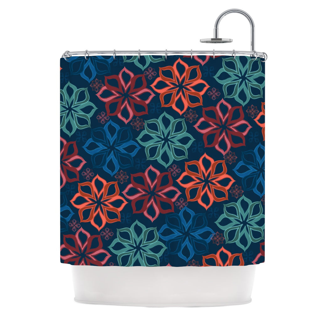 "Jolene Heckman ""Floral Charm"" Blue Flowers Shower Curtain - KESS InHouse"