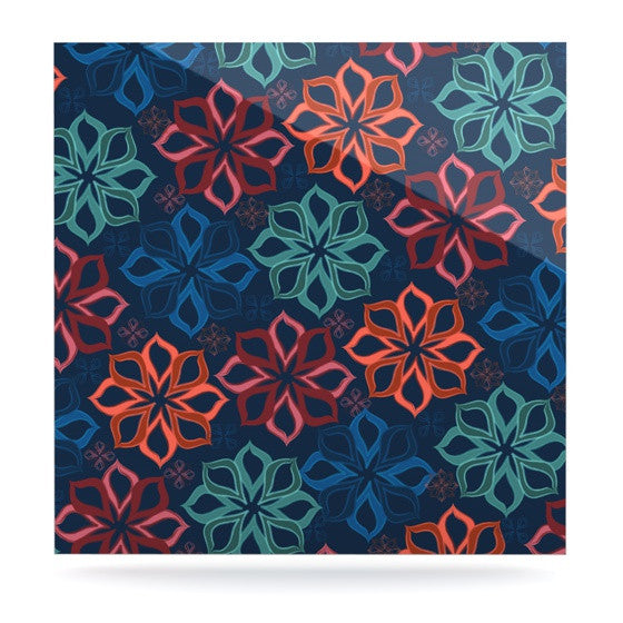"Jolene Heckman ""Floral Charm"" Blue Flowers Luxe Square Panel - KESS InHouse  - 1"