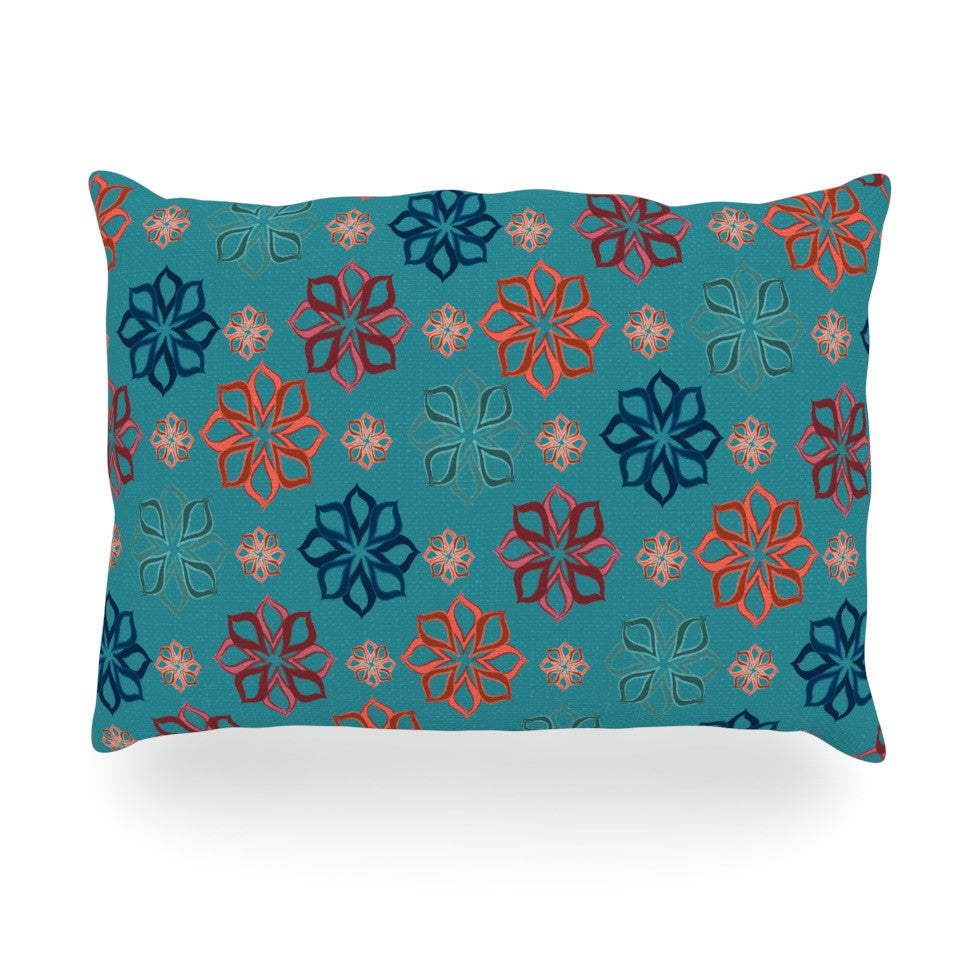 "Jolene Heckman ""Turquoise Mini"" Teal Flowers Oblong Pillow - KESS InHouse"