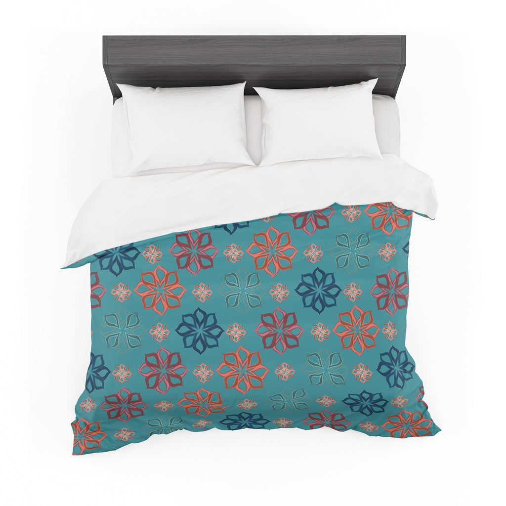 "Jolene Heckman ""Turquoise Mini"" Teal Flowers Cotton Duvet"