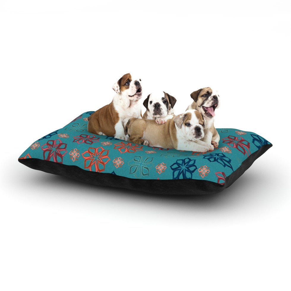 "Jolene Heckman ""Turquoise Mini"" Teal Flowers Dog Bed - KESS InHouse  - 1"