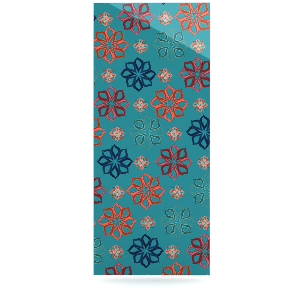 "Jolene Heckman ""Turquoise Mini"" Teal Flowers Luxe Rectangle Panel - KESS InHouse  - 1"