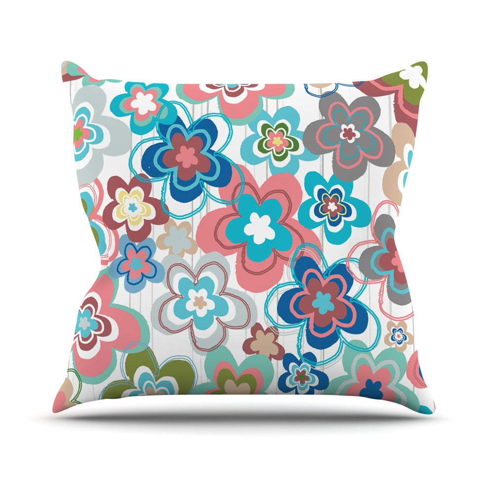 "Jolene Heckman ""A Marsala Morning"" Multicolor Floral Outdoor Throw Pillow - KESS InHouse  - 1"