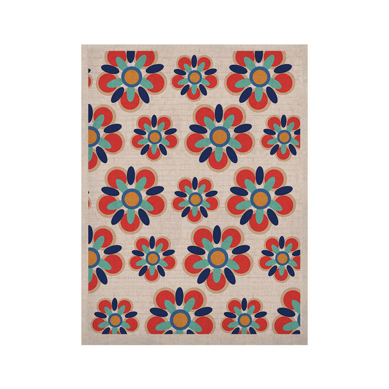 "Jolene Heckman ""Red Folksy"" Red Teal KESS Naturals Canvas (Frame not Included) - KESS InHouse  - 1"