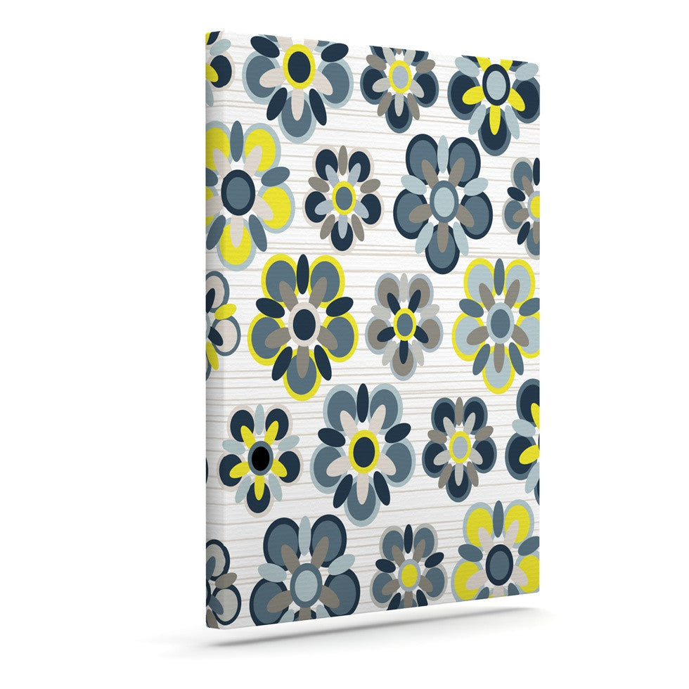"Jolene Heckman ""Blue Folksy"" Yellow Gray Canvas Art - KESS InHouse  - 1"