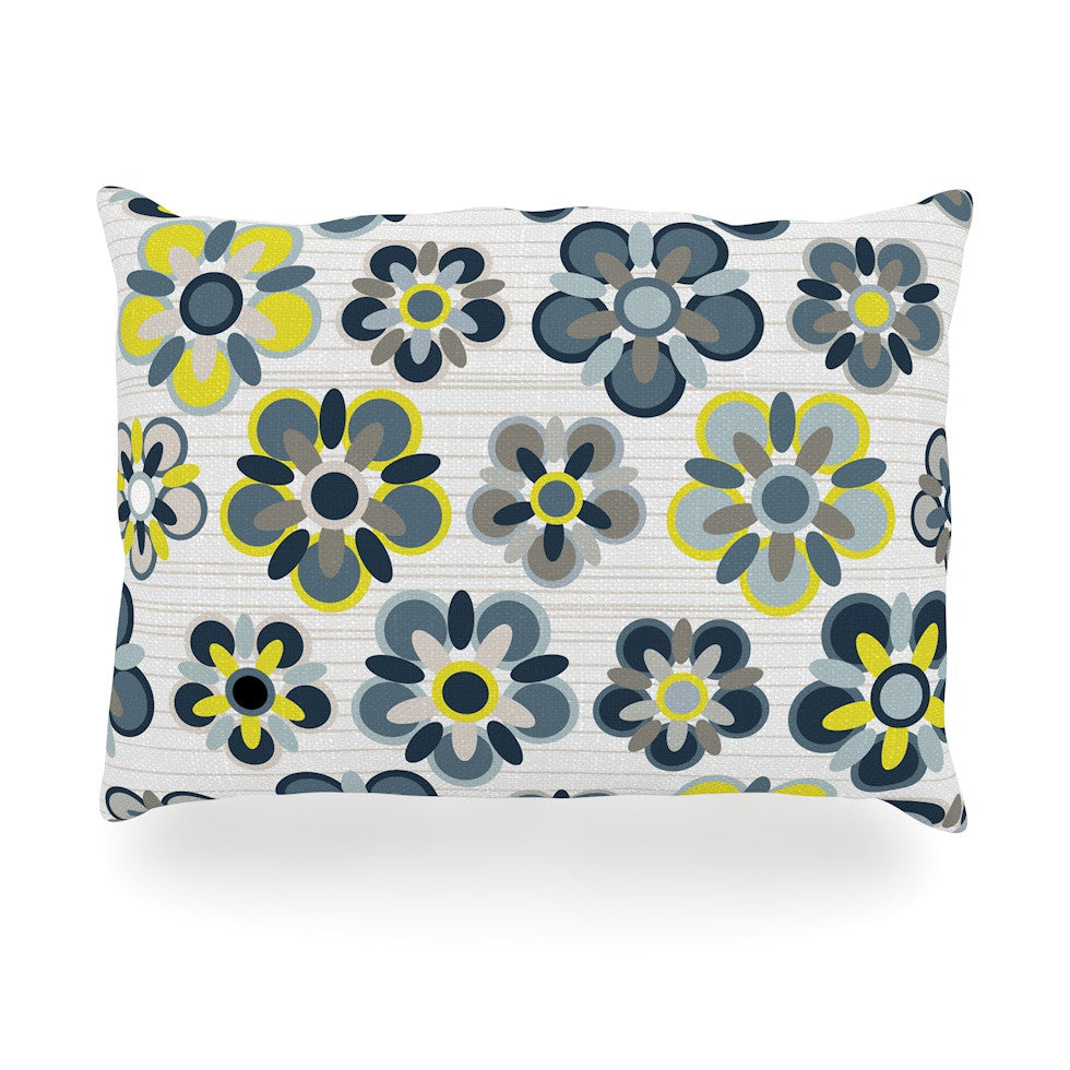"Jolene Heckman ""Blue Folksy"" Yellow Gray Oblong Pillow - KESS InHouse"