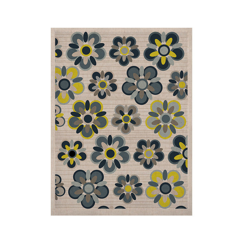"Jolene Heckman ""Blue Folksy"" Yellow Gray KESS Naturals Canvas (Frame not Included) - KESS InHouse  - 1"