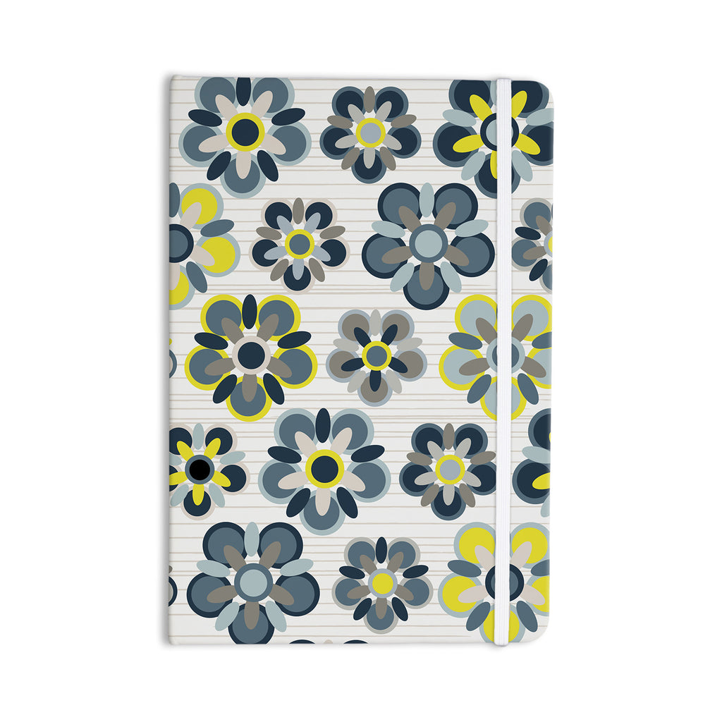 "Jolene Heckman ""Blue Folksy"" Yellow Gray Everything Notebook - KESS InHouse  - 1"