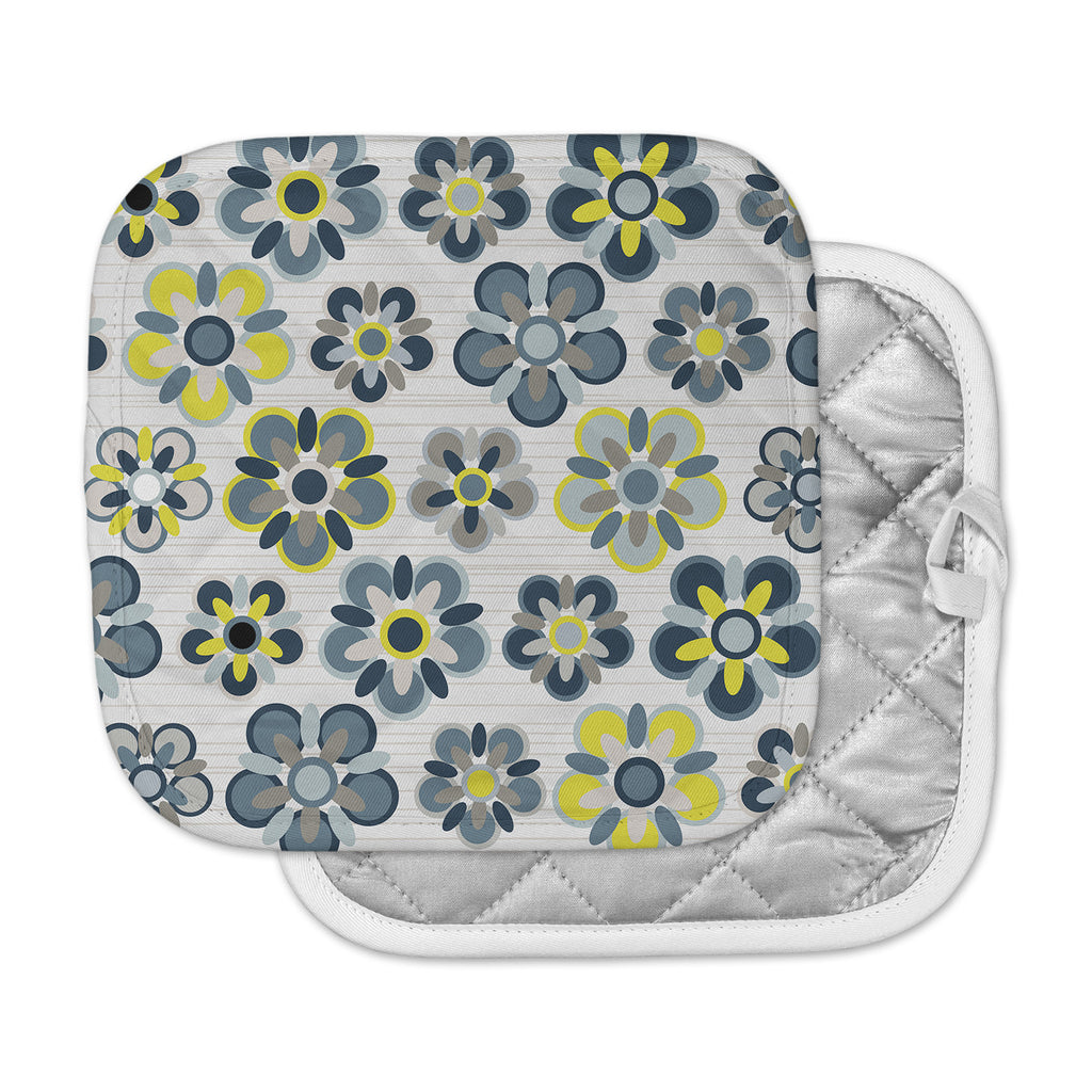 "Jolene Heckman ""Blue Folksy"" Yellow Gray Pot Holder"