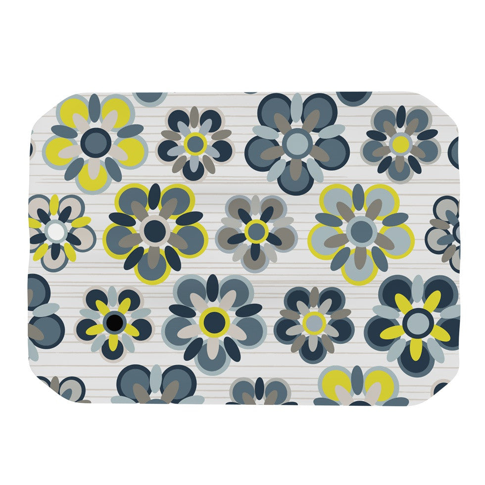"Jolene Heckman ""Blue Folksy"" Yellow Gray Place Mat - KESS InHouse"