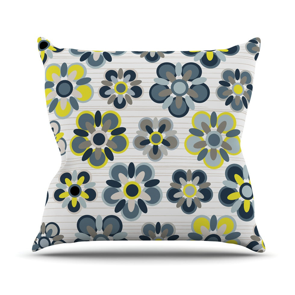 "Jolene Heckman ""Blue Folksy"" Yellow Gray Outdoor Throw Pillow - KESS InHouse  - 1"