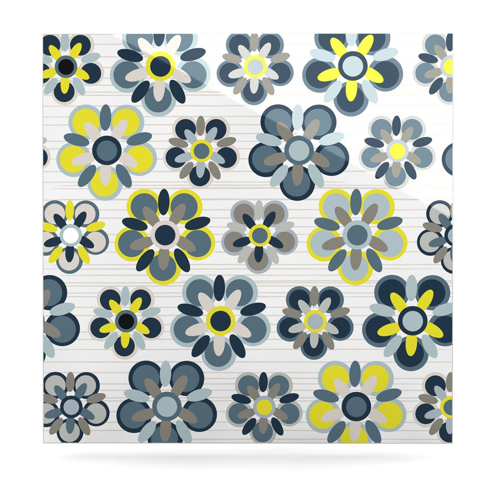 "Jolene Heckman ""Blue Folksy"" Yellow Gray Luxe Square Panel - KESS InHouse  - 1"
