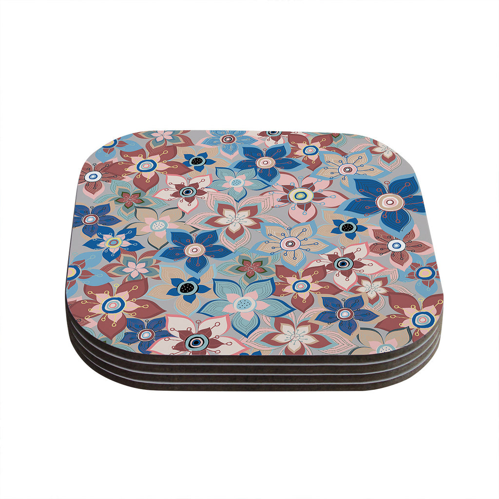 "Jolene Heckman ""Marsala Floral Mix"" Pink Blue Coasters (Set of 4)"